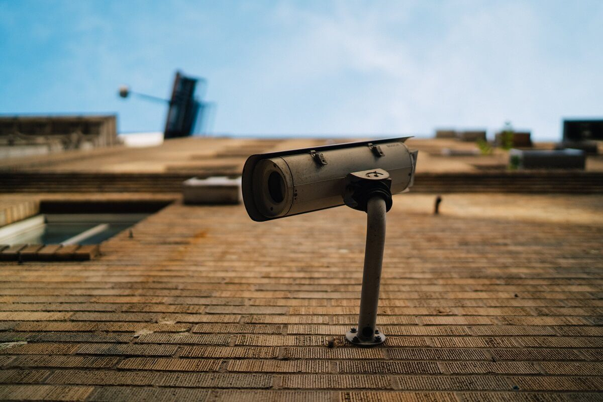 A security camera on a building