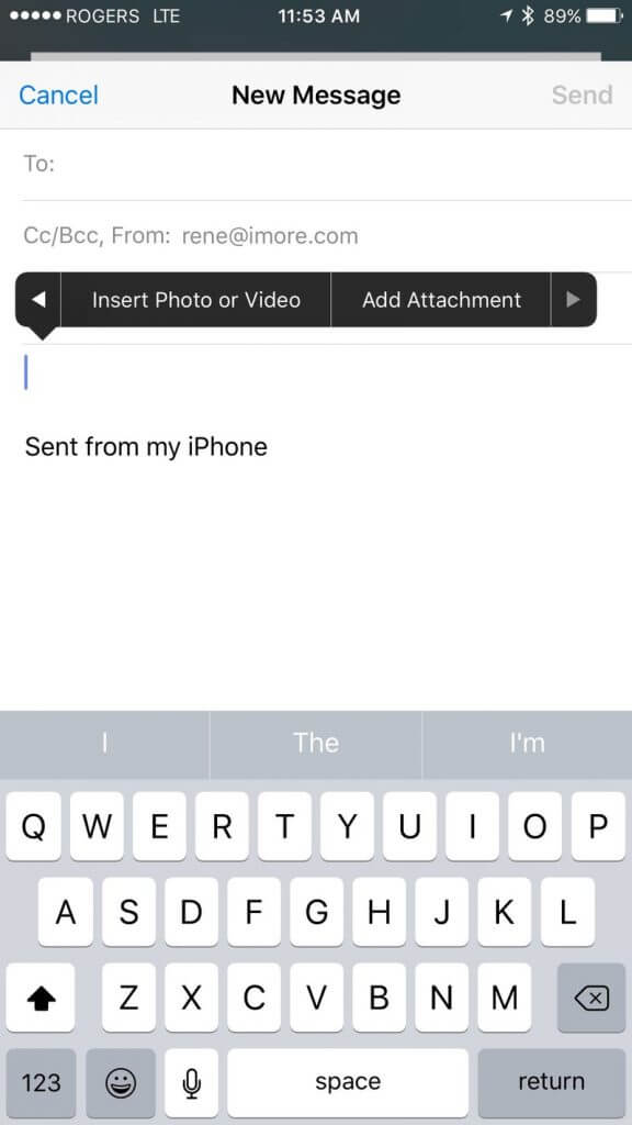 Showing how to send an email with Apple mail on the iPhone