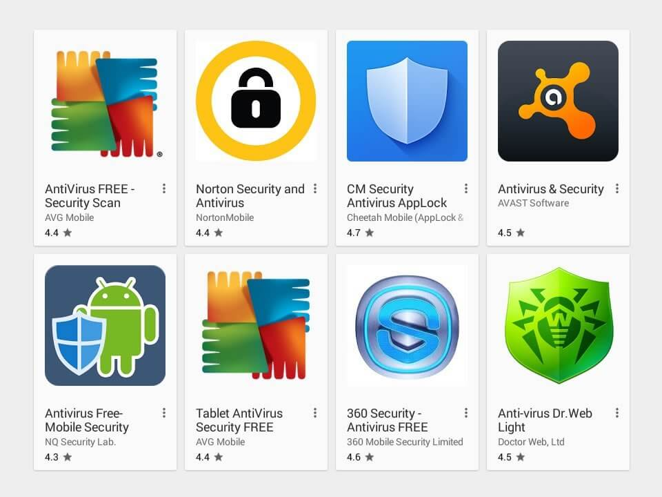 A screenshot of appropriate antivirus software for an Android