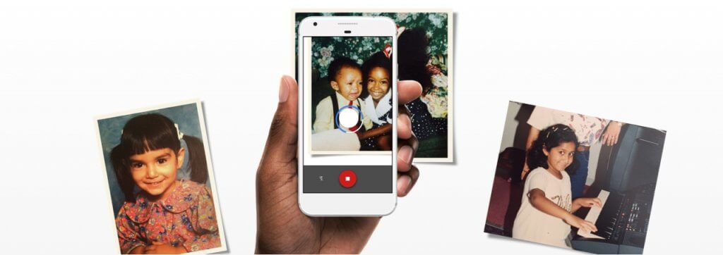 Three photos of kids with a hand scanning the photos with their smartphone camera
