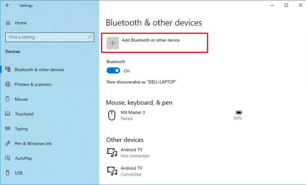 A screenshot of the Bluetooth and other devices settings in Windows 10.