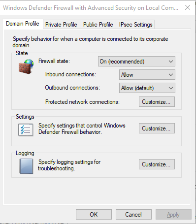 A screenshot of the properties and settings in the Windows Defender Firewall.