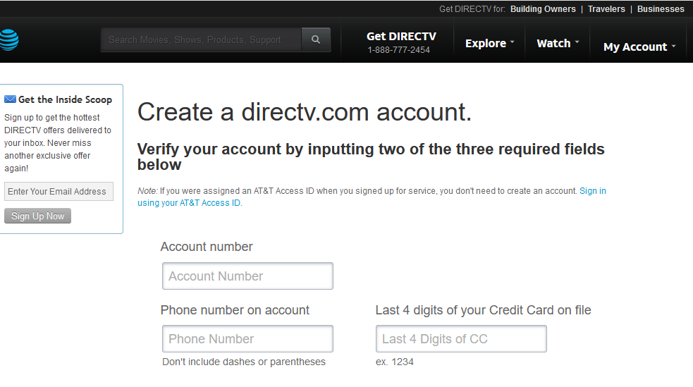 A screenshot of syncing a DirectTV account to the online streaming service. Includes fields for account number, phone, and last four of a credit card.