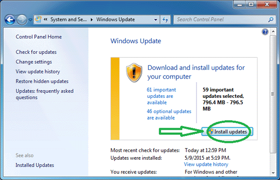 A screenshot of Windows Updates and what button to push to install updates.