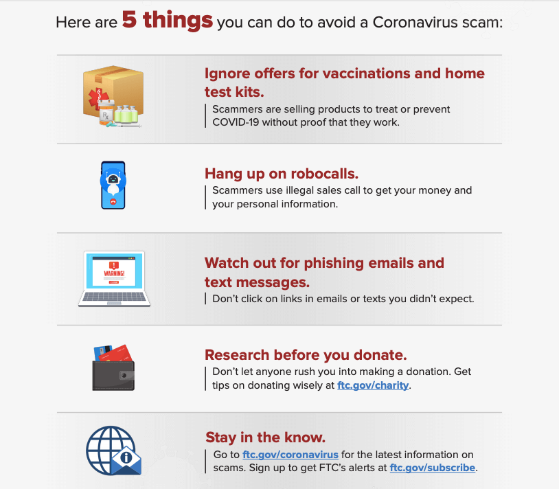 An infographic from the FTC of 5 things to do to avoid Coronavirus and COVID-19 scams.