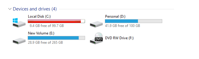 A screenshot of the Devices and drives menu on Windows OS showing what storage is free or used on each drive.