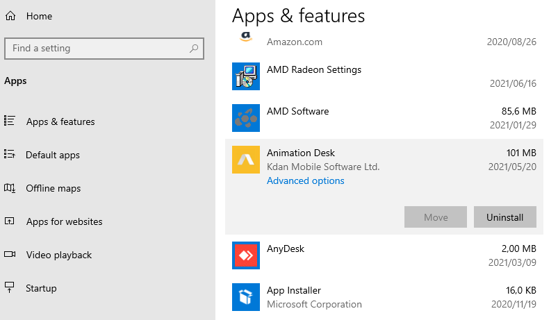 A screenshot of the Apps and features under the Default Apps settings.