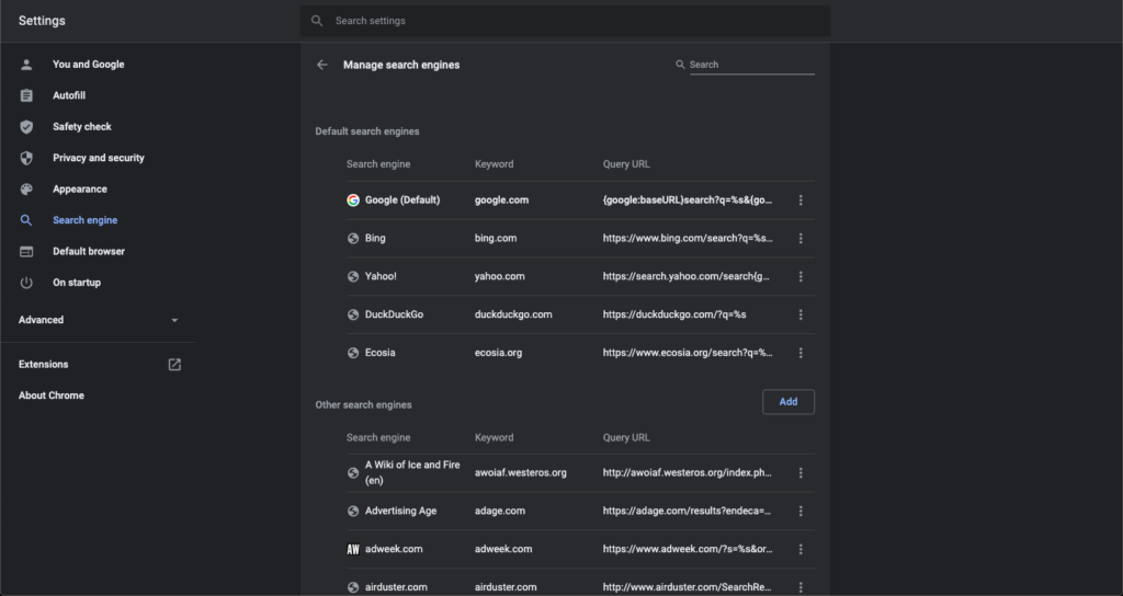 A screenshot of Chrome settings where you can add search engines.
