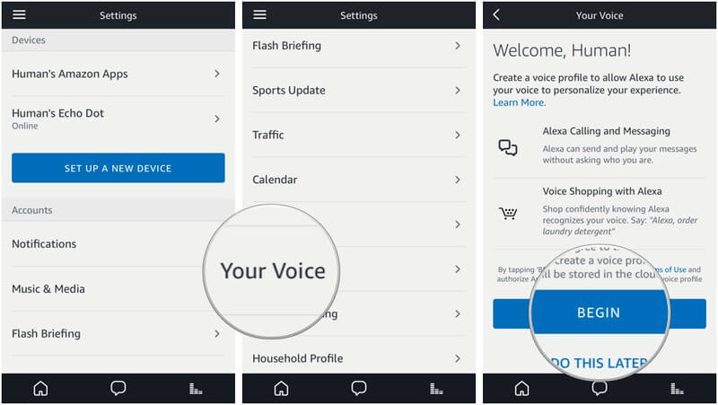 A screenshot of how to access Amazon Echo setting in order to activate the voice commands with your voice