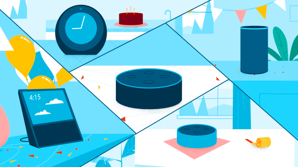 An illustration with Alexa in the middle surrounded by a tablet, smart clock, smart speaker