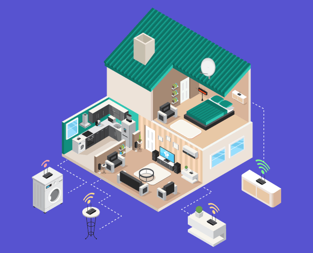 A screenshot of a illustrated home showing all the potential devices in a home that use Wi-Fi