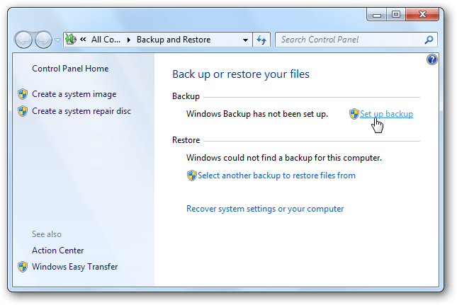 A screenshot of the backup option on Windows 7