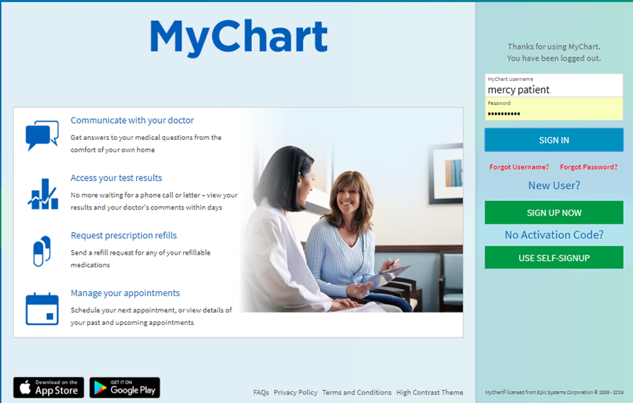 A screenshot of MyChart login.