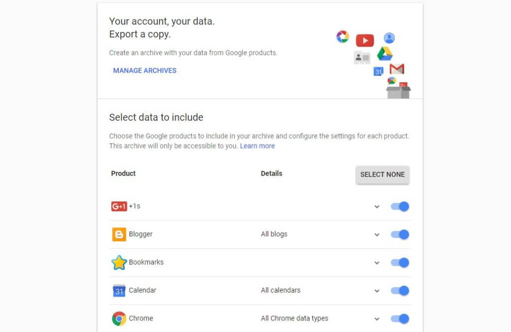 A screenshot of the page where you can export all the data Google has stored for you.