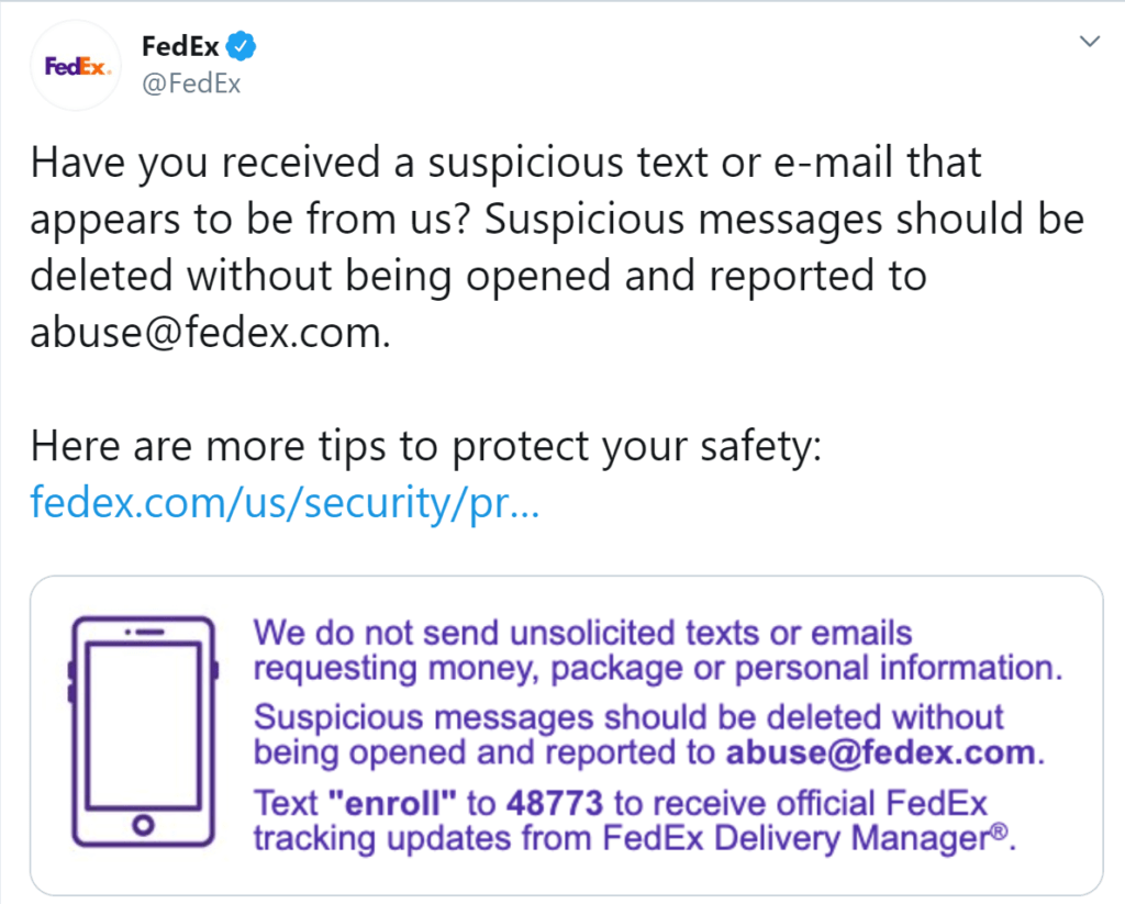 A screenshot of Fedex's tweet highlighting examples of phishing scams using their name as a cover.