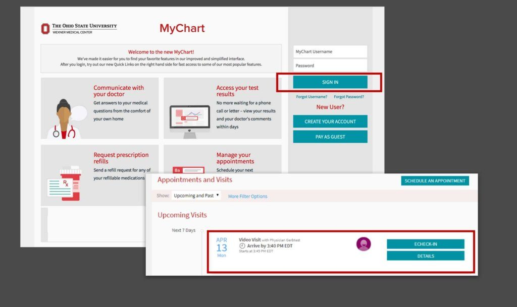 A screenshot of booking a telehealth appointment online with MyChart.