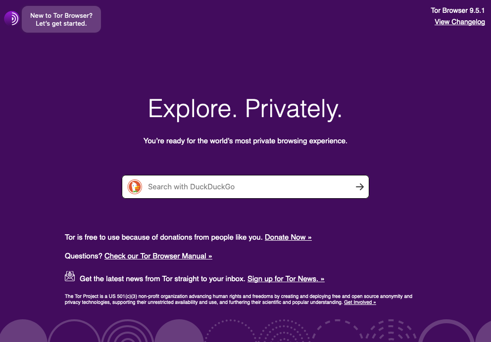 A screenshot of the Tor browser start page.