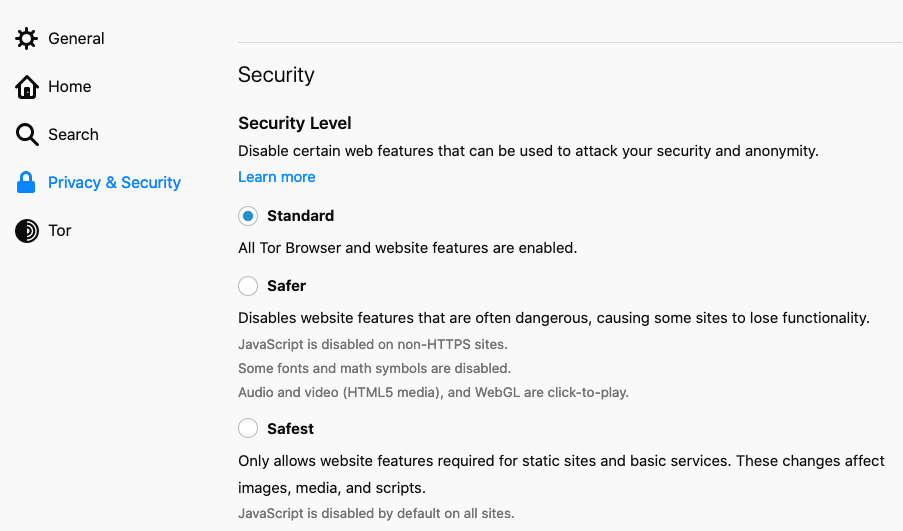 A screenshot of Tor browser security settings.