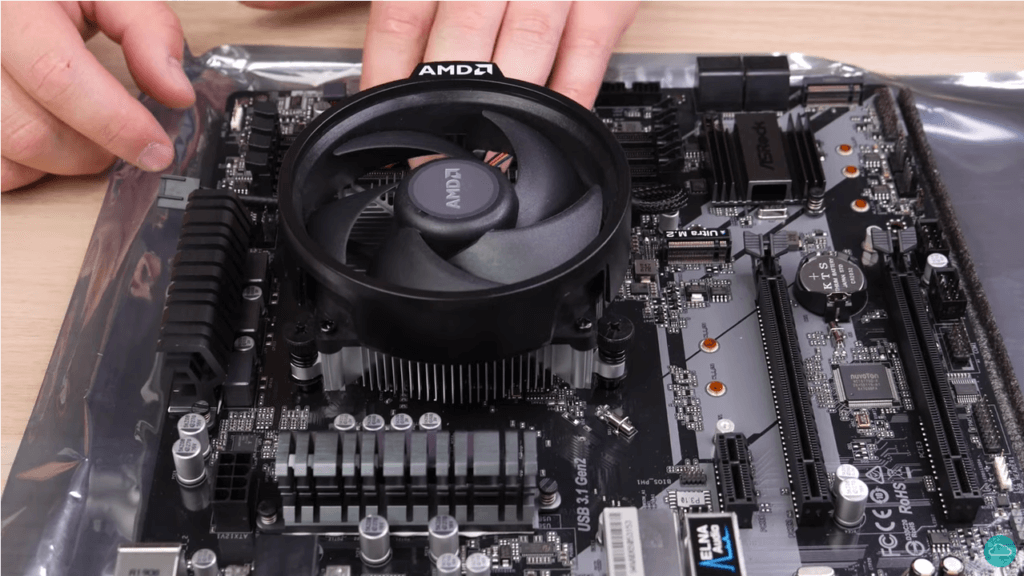 A CPU cooler installed on a motherboard