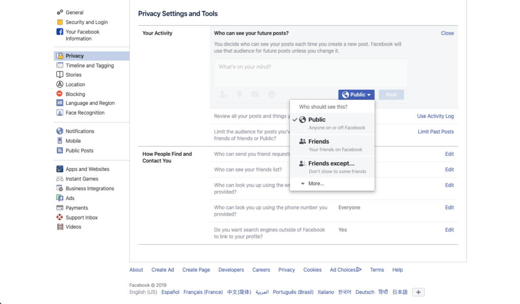 A screenshot of the Facebook activity settings and changing what audiences can see your posts.