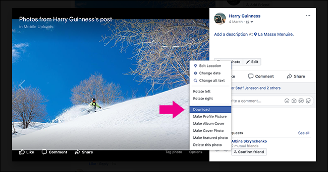 A screenshot of right clicking a social media image and using the download option.