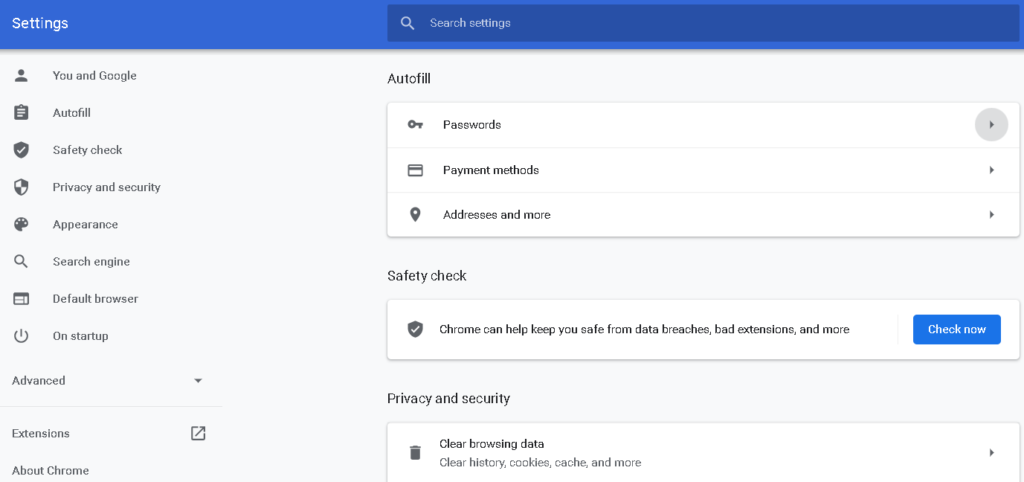 A screenshot of the password settings in Chrome browser.