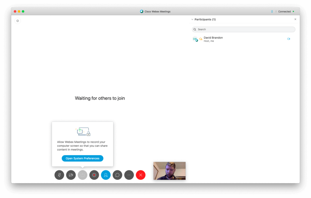 A screenshot of the Webex video conference room.