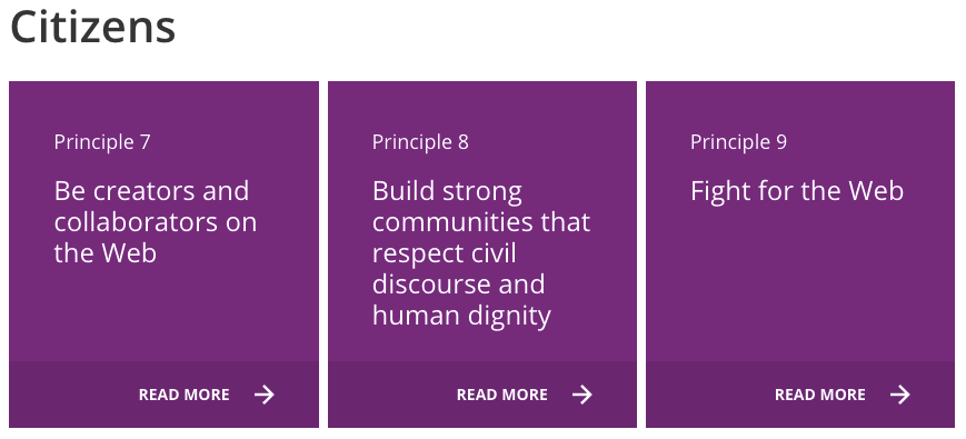 A screenshot of the three principles for citizens under the Contract for the Web