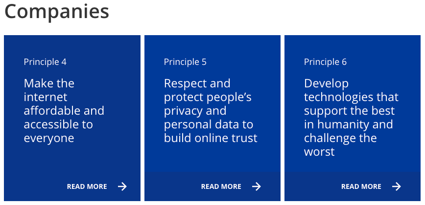 A screenshot of the three principles for companies under the Contract for the Web