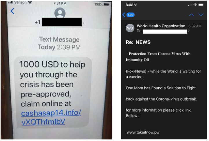 A screenshot of two stimulus package scams.