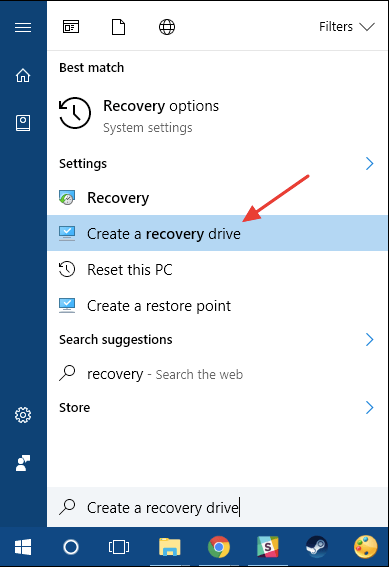 "A screenshot of clicking the ""Create a recovery drive"" option in Windows 10"
