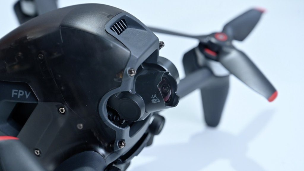 An up-close shot of the front and side of the new DJI FPV drone.