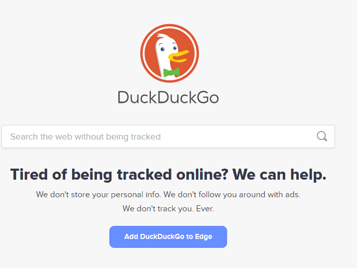 A screenshot of the DuckDuckGo website homepage on the Edge browser with link to download.