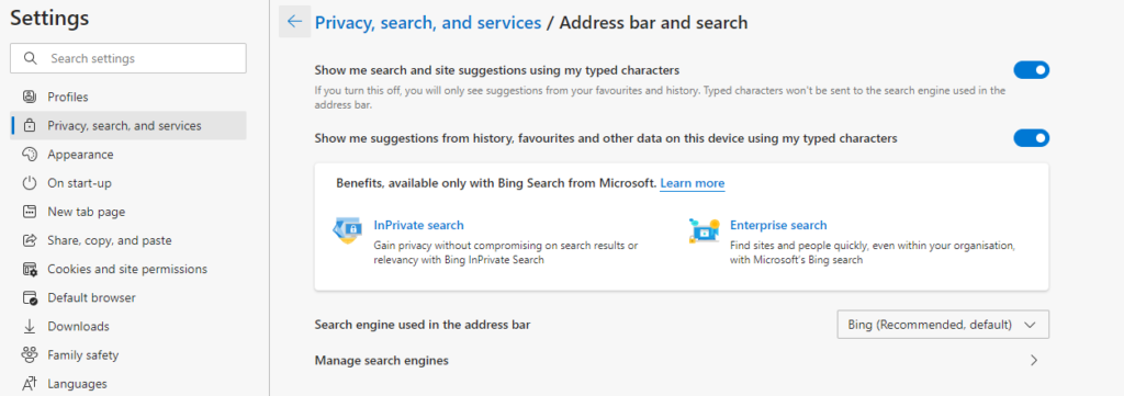 A screenshot of the Edge browser settings for Privacy, Search, and Services.