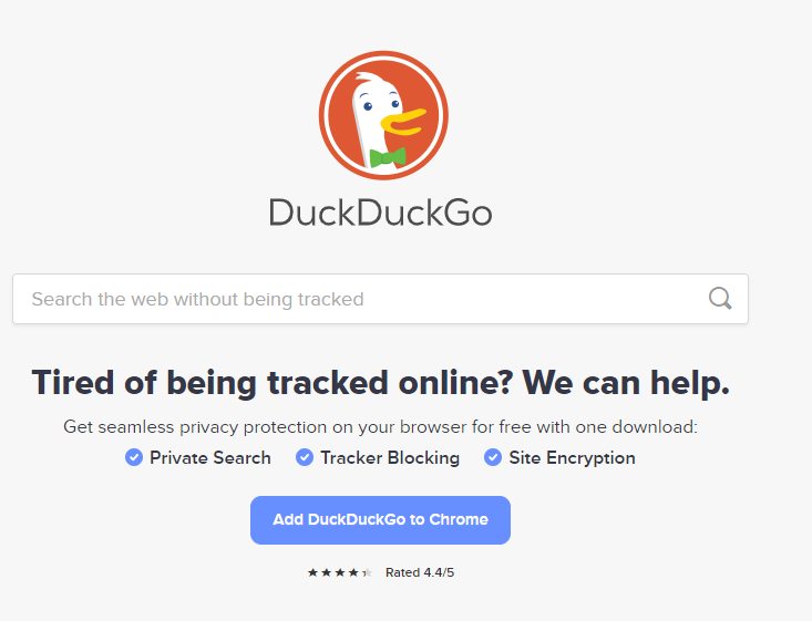 A screenshot of the DuckDuckGo website homepage on the Chrome browser with link to download.