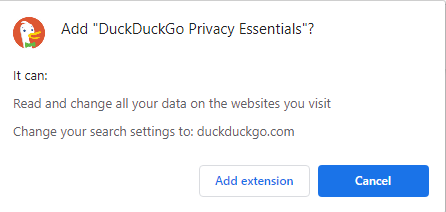 "A screenshot of the ""DuckDuckGo privacy essentials"" when adding the extension to Chrome."