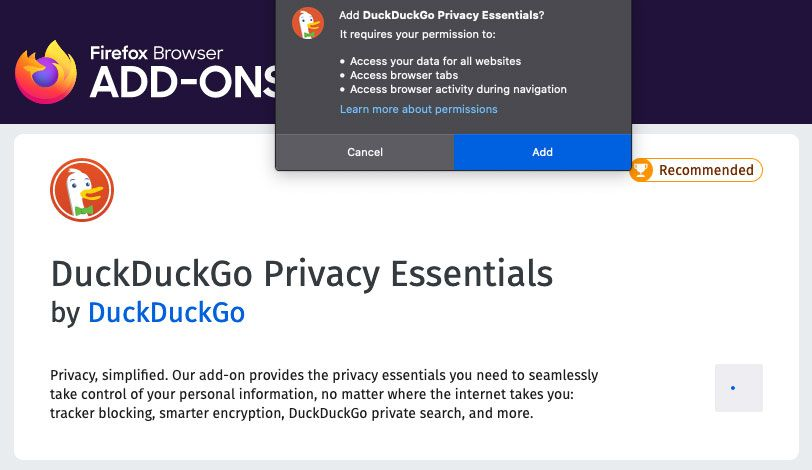 A screenshot of DuckDuckGo privacy essentials and permissions when adding the add-on to Firefox.