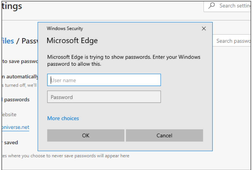 A screenshot of Windows Security requiring system password in order to change Edge's password settings.