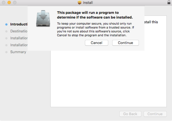 A screenshot of a package attempting to install on macOS.