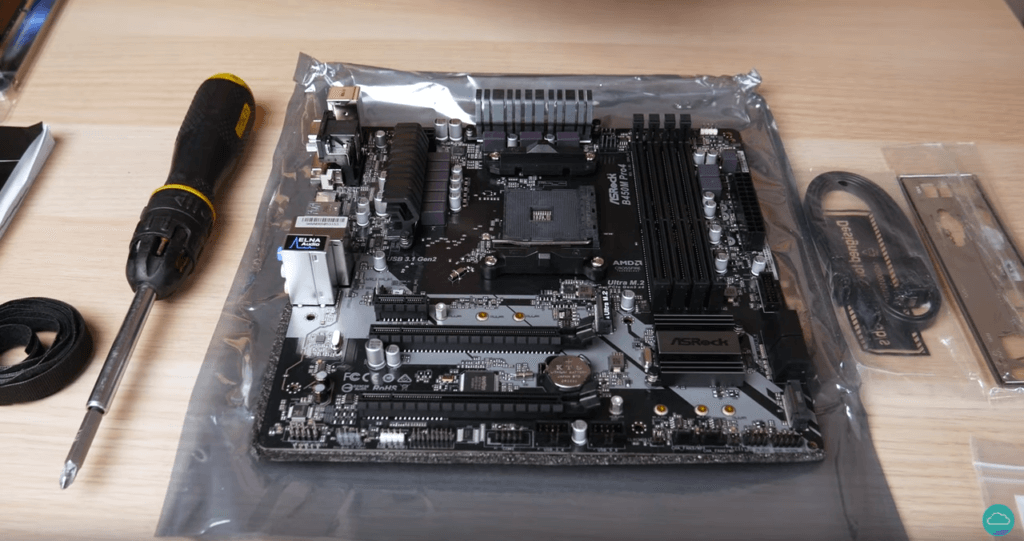 An image of a motherboard on top of a table