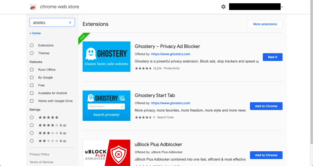 A screenshot of the Ghostery ad blocker extension in the Chrome store
