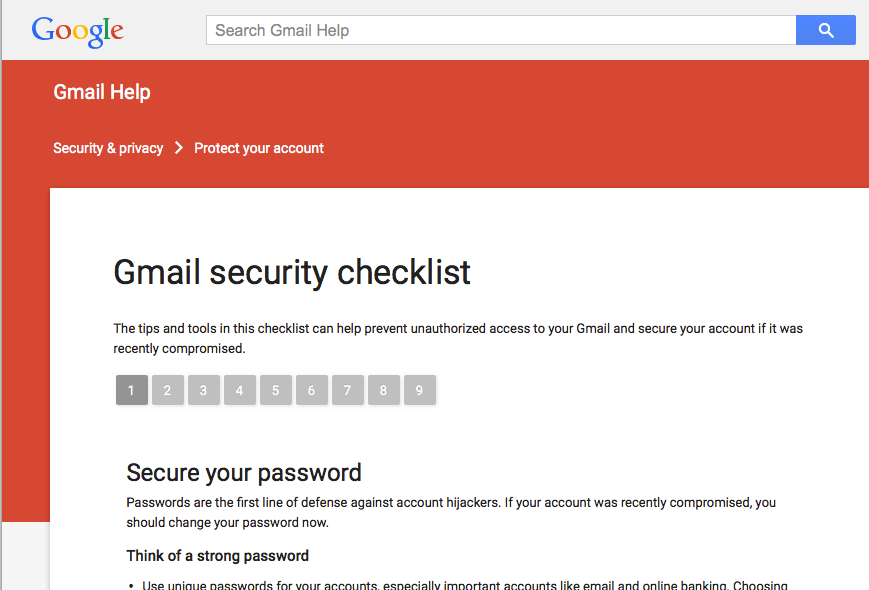 A screenshot of Gmail's first page of their security checklist