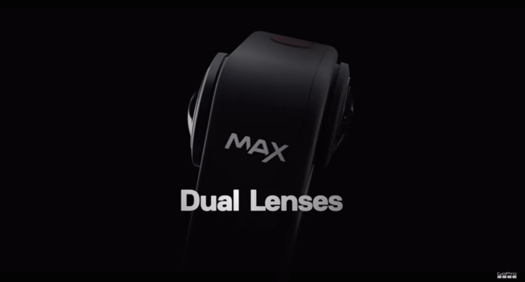 A photo of the GoPro Max from the side showing both the lenses on the camera