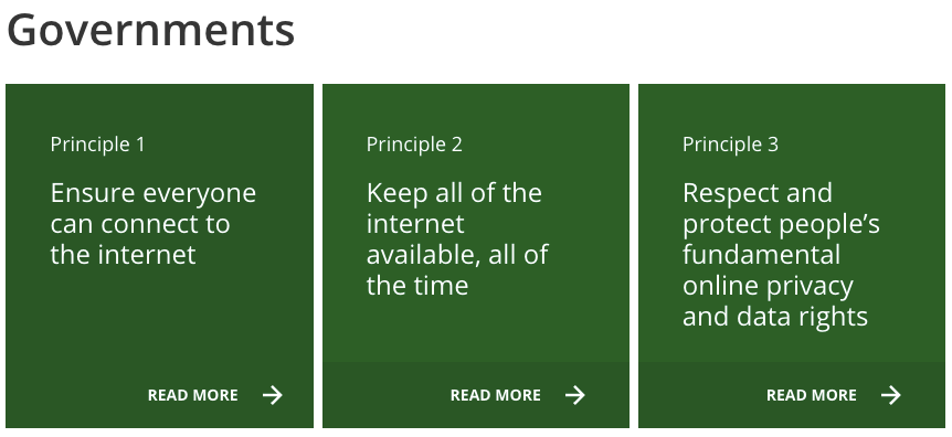 A screenshot of the three principles for Government under the Contract for the Web