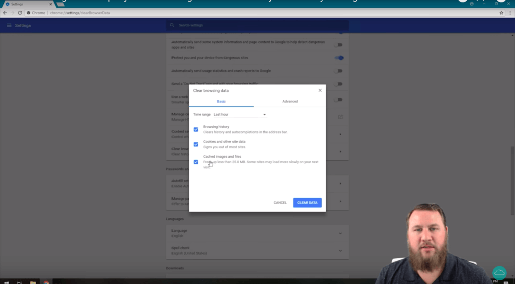 A screenshot of HelpCloud YouTube tech tip showing how to change browser privacy settings.