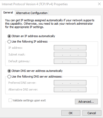 A screenshot of the general settings in Internet protocol version 4.