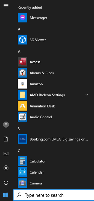 A screenshot of the start menu in Windows 10