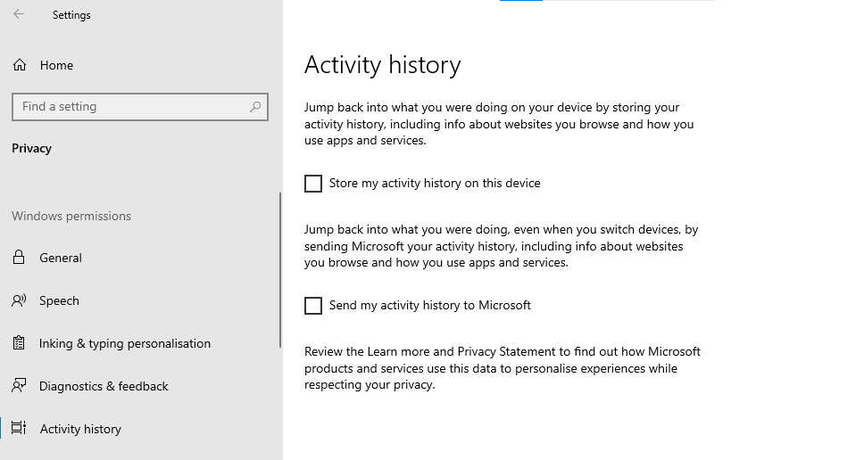 A screenshot of the Windows 10 'Activity History' settings.