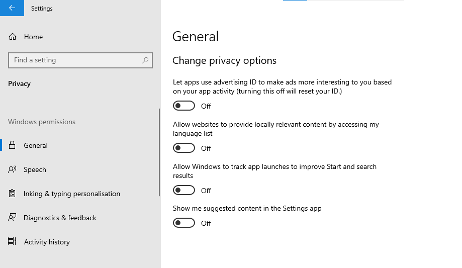 A screenshot of the Windows 10 'General' settings where you can change your privacy settings.