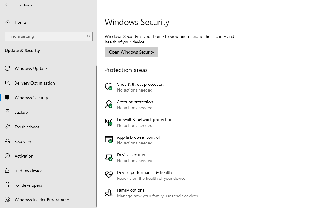 A screenshot of the Windows 10 'Windows Security' settings.